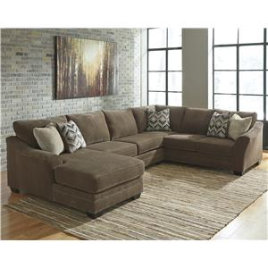 Benchcraft Justyna Contemporary 3-Piece Sectional with Left Chaise |  Wayside Furniture | Sectional Sofas