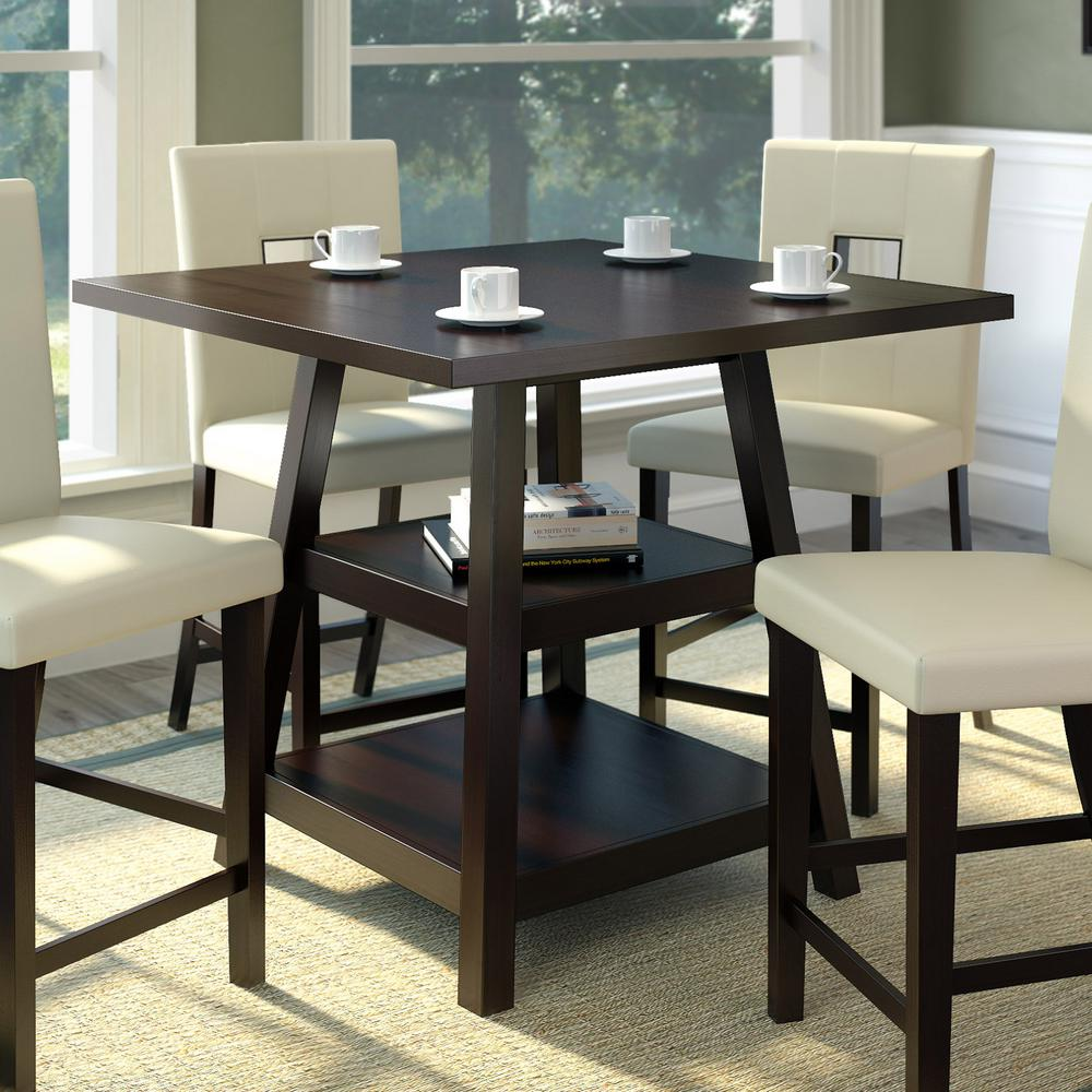 CorLiving Bistro Cappuccino 36 in. Counter Height Square Dining Table