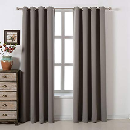 acelitor Blackout Bedroom Curtains Set 100% Polyester Grommet Top Room  Darkening Panels Thermal Insulating Draperies