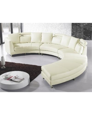 Curved Sectional Sofa - Cream (Ivory) Leather Rotunde
