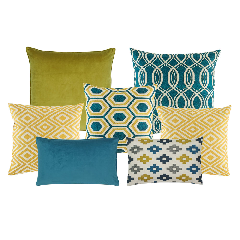 A set of 6 square and rectangular cushion covers in blue and gold colours  and with