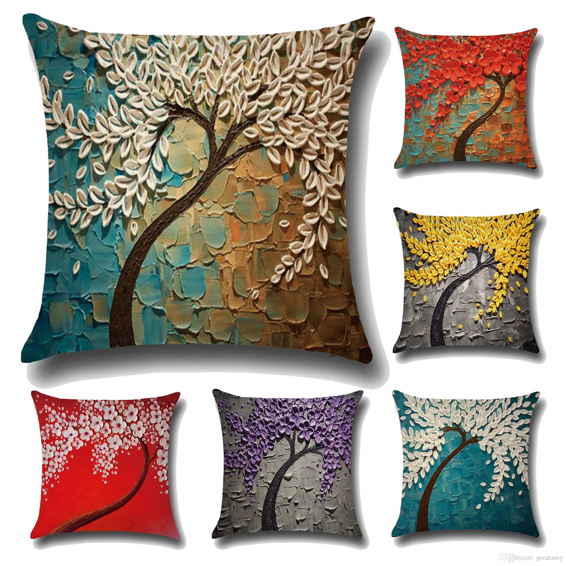 New Flower Printed Cushion Covers 3D Soft Linen Pillow Cases Creative Tree  Pattern Cover Decorative Pillows Patio Cushions On Sale Outdoor Chaise  Cushions