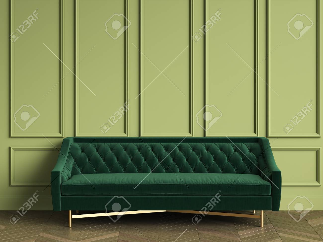 Illustration - Tufted dark green sofa in classic interior with copy space. Green walls with mouldings. Floor parquet herringbone.