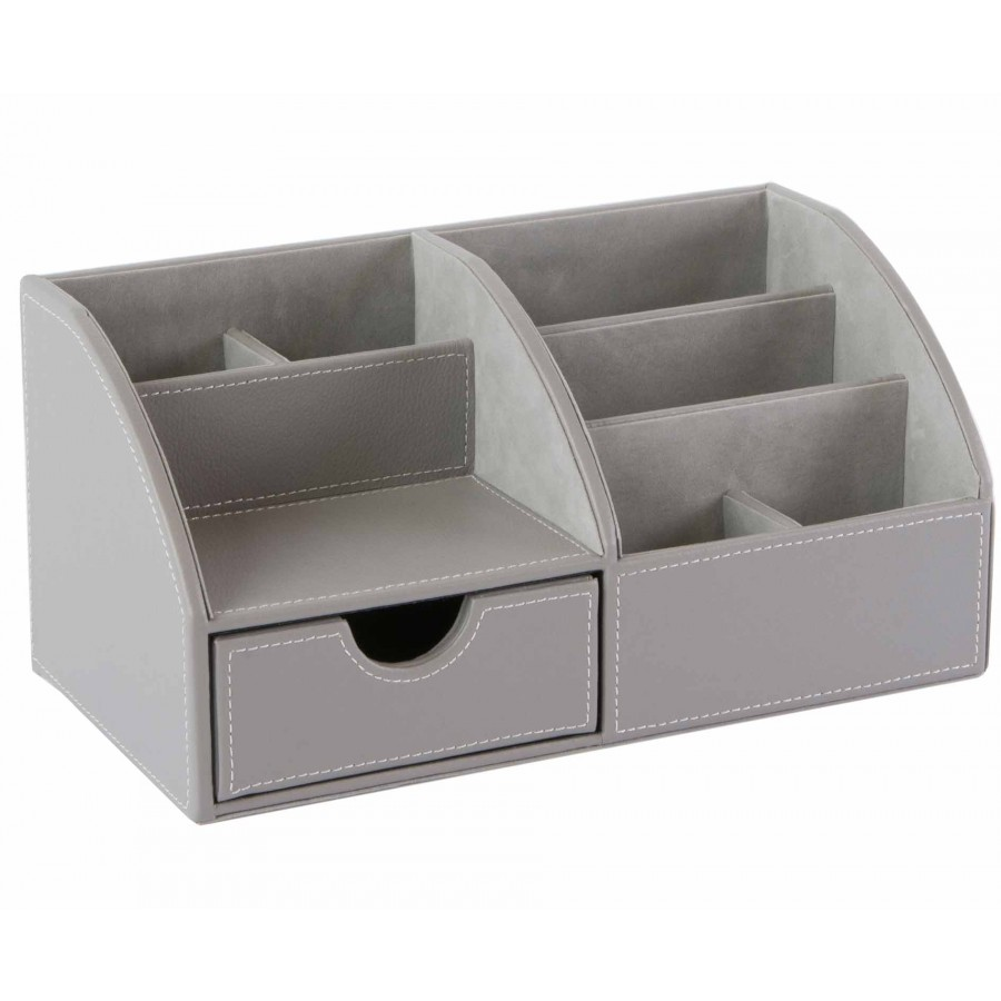 Osco Desk Organiser Grey Faux Leather - Desk Tidy - Desk Organisers &  Storage - Desk Accessories - Office Supplies