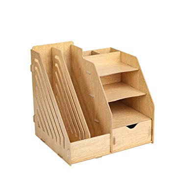 HomJoy Multi-Functional Wooden Desktop Organiser, DIY Desk Tidy Stationary  Storage Cabinet with 2