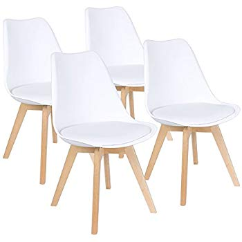 Furmax Mid Century Modern DSW Dining Chair Upholstered Side Chair with  Beech Wood Legs and Soft