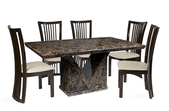 Mocha Marble Dining Table with Reni Leather Chairs 4 or 6 Seater