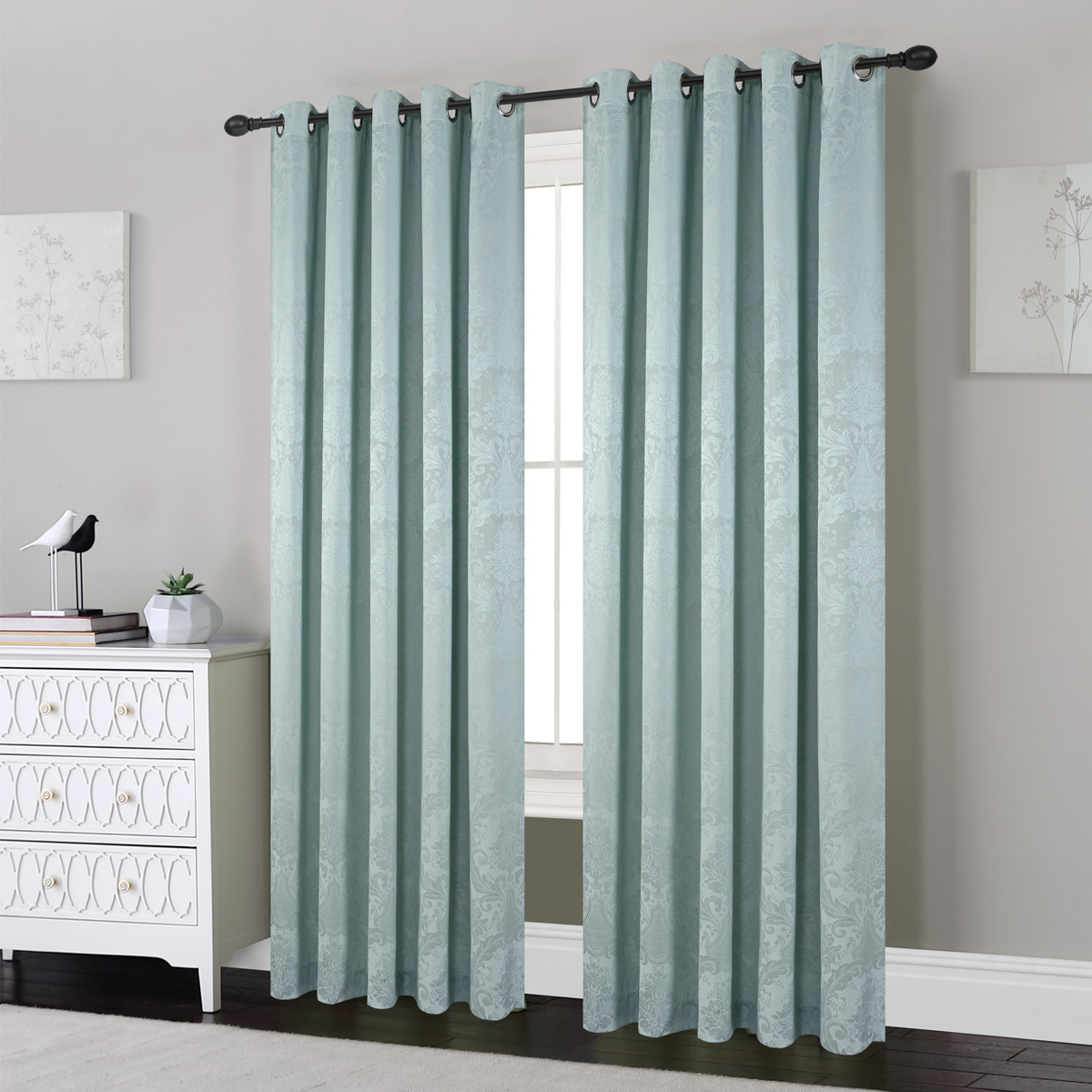 Bethan Duck Egg Ready Made Eyelet Curtains. Expand