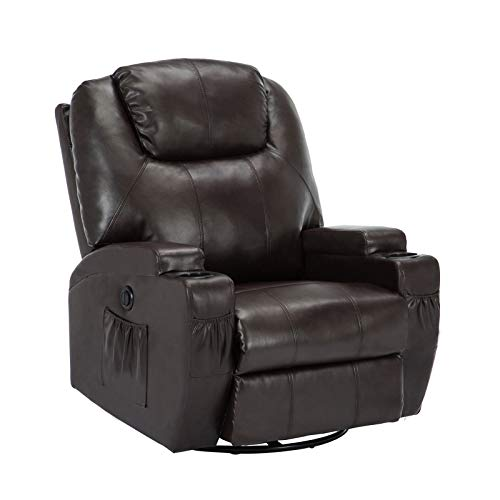Uenjoy Massage Sofa Electric Massage Recliner Massage Chair with Heating  System & 360° Swivel Brown
