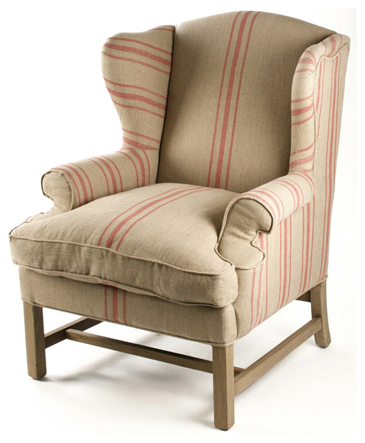 Khaki Linen English Club Chair with Red Stripe - Traditional - Armchairs  And Accent Chairs - by Kathy Kuo Home