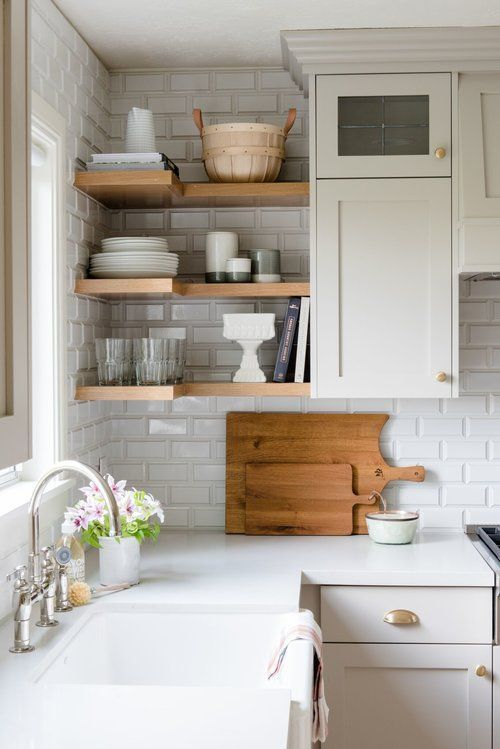 open shelving kitchen // white countertops // white cabinets // farmhouse  decor