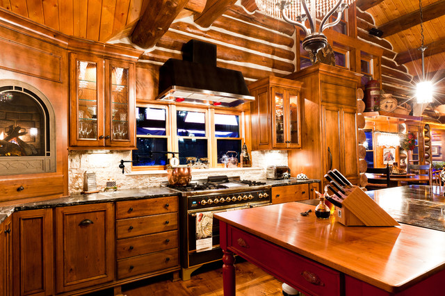 Evergreen Log Home Rustic Kitchen, Denver