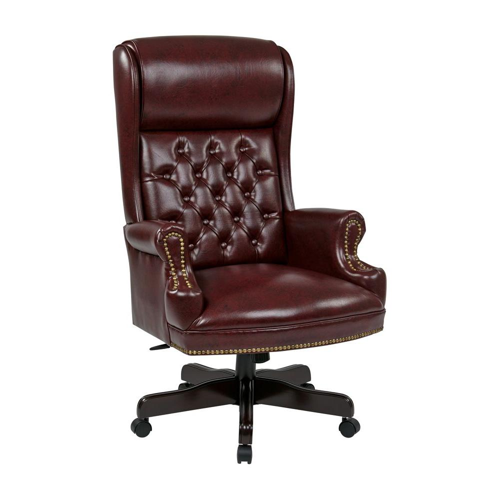 Oxblood Vinyl High Back Executive Office Chair