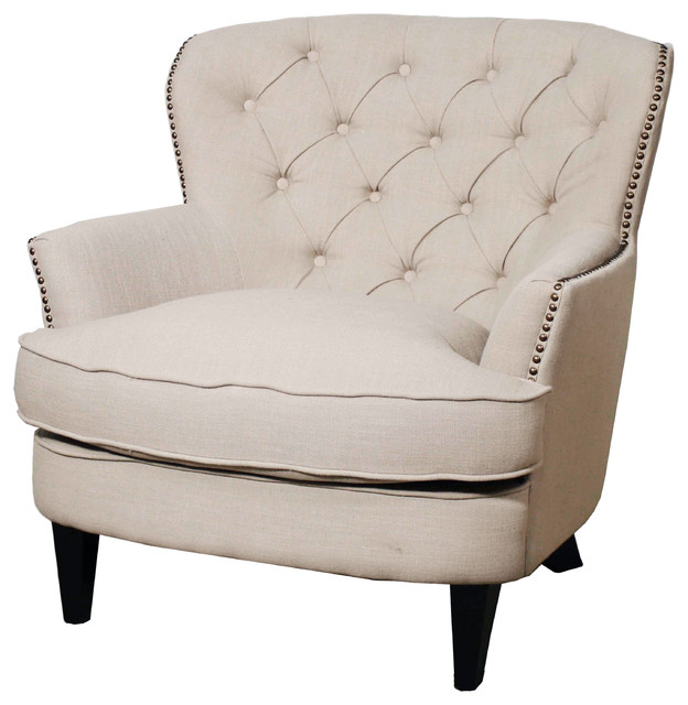 Emma Tufted-Fabric Armchair - Transitional - Armchairs And Accent Chairs -  by New Pacific Direct Inc.