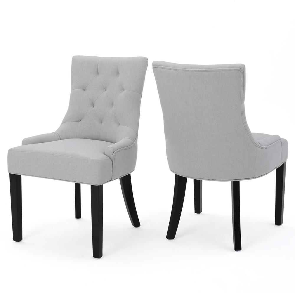Noble House Hayden Light Grey Fabric Dining Chair (Set of 2)