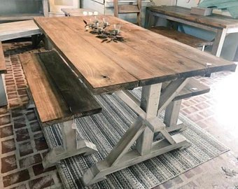 Rustic Pedestal Farmhouse Table With Benches Provincial Brown with White  Distressed Base Dining Set