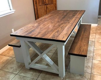 Criss Cross Farmhouse Table & 2 Benches