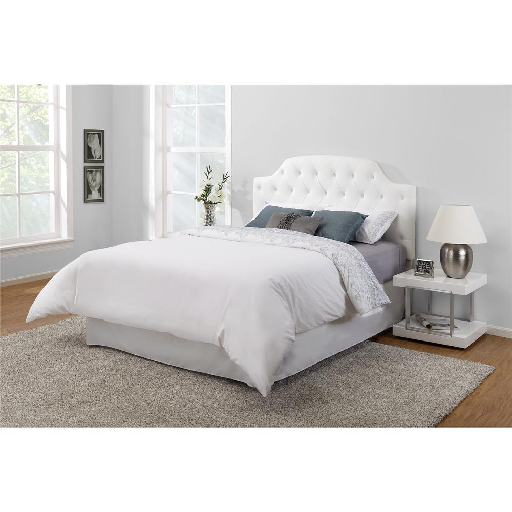 Dorel Living Lyric White Queen/Full Button Tufted Faux Leather Headboard-FA6126FQ  - The Home Depot