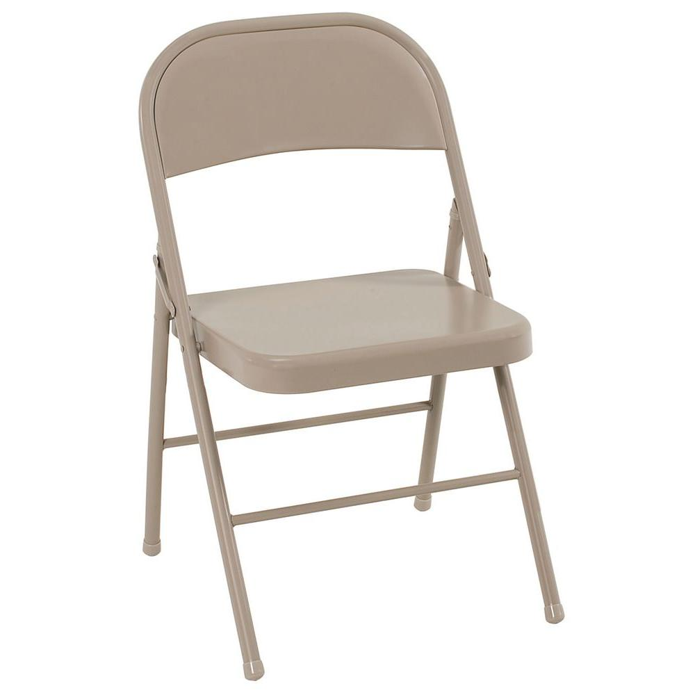 Cosco Antique Linen All Steel Folding Chairs (4-Pack)