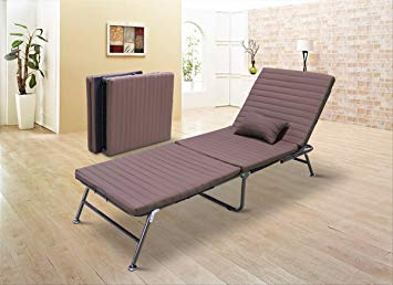 Vesgantti 3-section Single Folding Guest Beds, Luxury Fold Lounge Chair  with Adjustable Backrest