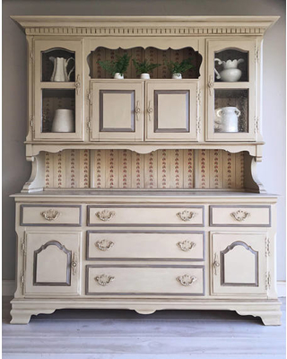 Farmhouse Furniture Painted Furniture China Cabinet Upcycled Furniture  French Country Farmhouse Hutch Vintage Furniture Chalk