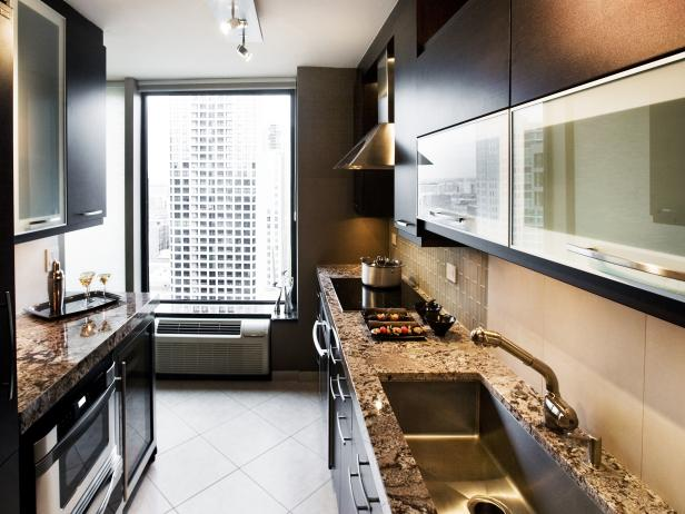 Galley Kitchen With Glass, Stone and Dark Wenge Wood
