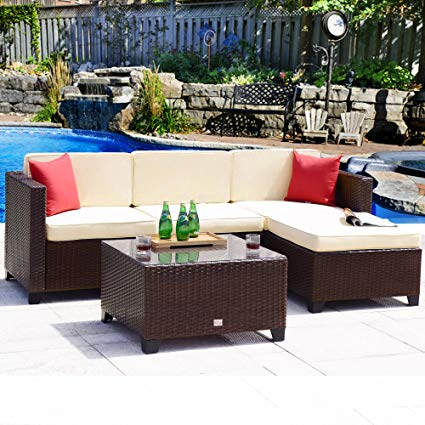 Amazon.com: Cloud Mountain Outdoor Sectional 5 Piece Wicker Patio