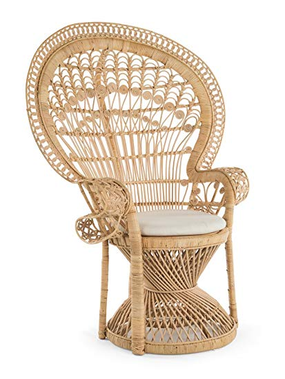 Kouboo Grand Peacock Chair in Rattan with Seat Cushion, Natural Color