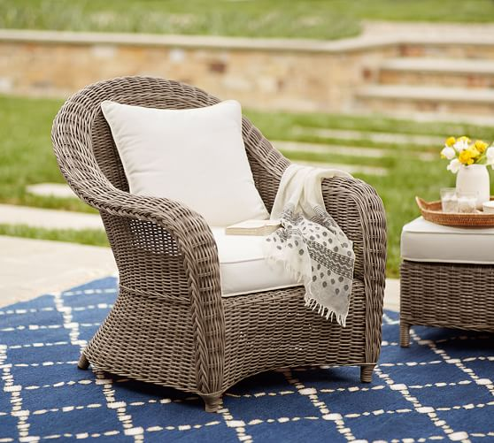 Torrey All-Weather Wicker Roll Arm Occasional Chair, Natural | Pottery Barn