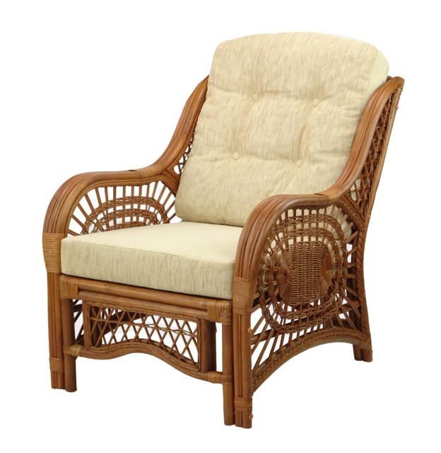 Malibu Lounge Armchair, Natural Rattan Wicker, Handmade - Tropical -  Armchairs And Accent Chairs - by RattanUSA
