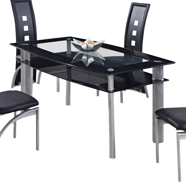 Global Furniture USA 1058DT Rectangular Black Glass Dining Table with Metal  Legs