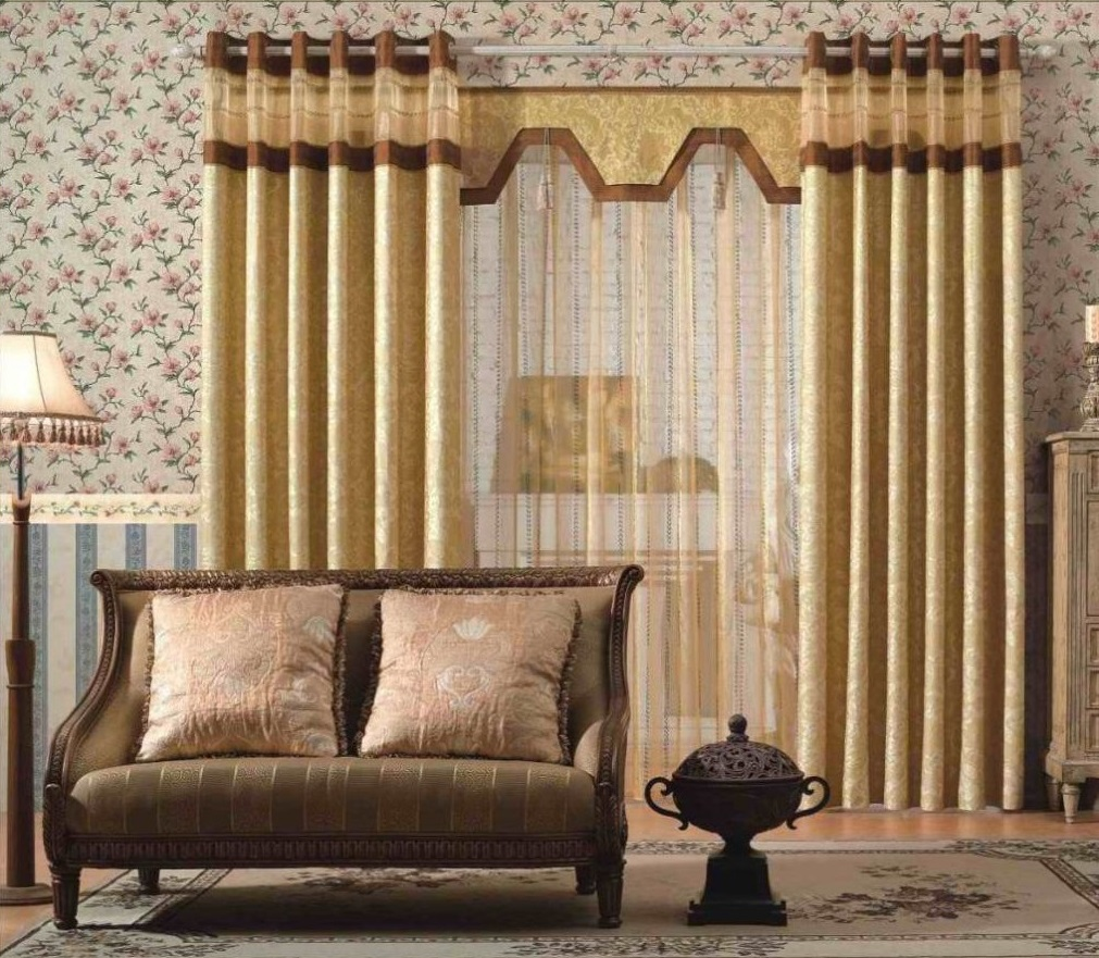 Amazing Design Of The Living Room Drapes With Floral Wall Paper Ideas Added  With Gold Curtain