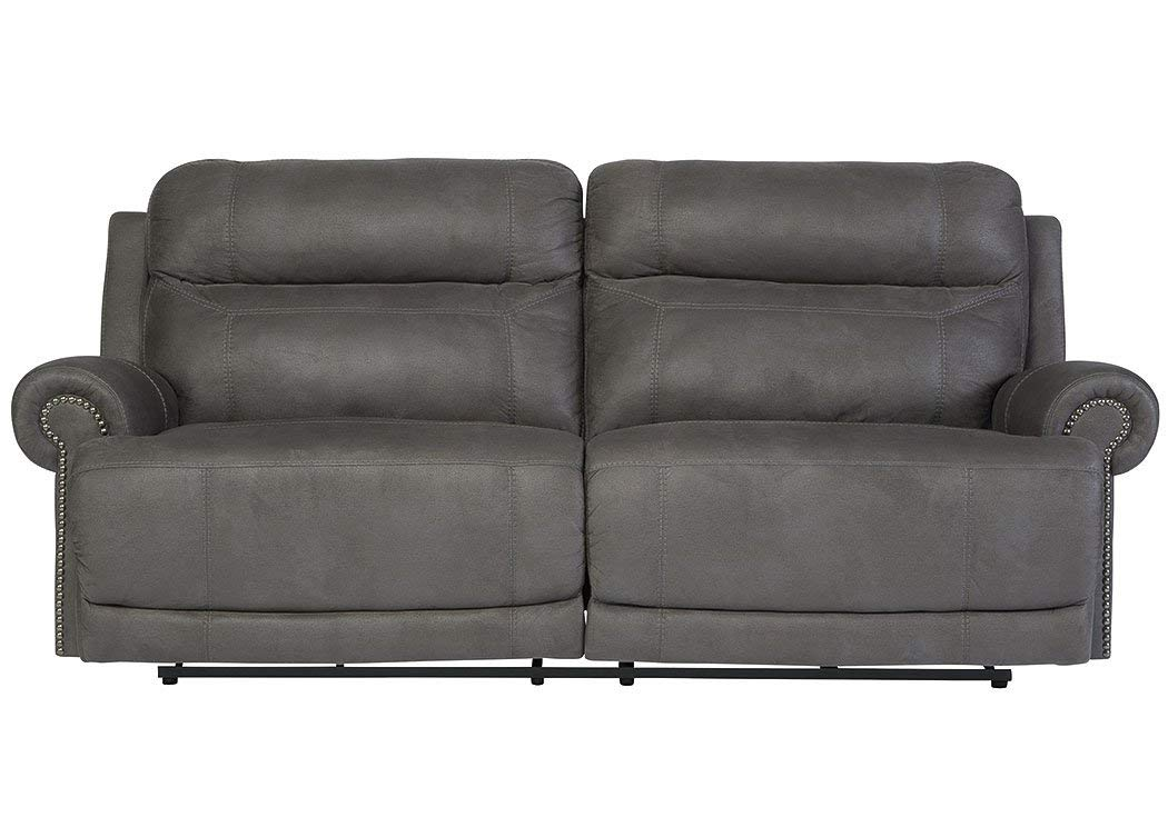 Traveller Location: Ashley Furniture Austere Faux Leather Reclining Sofa in Gray:  Kitchen & Dining