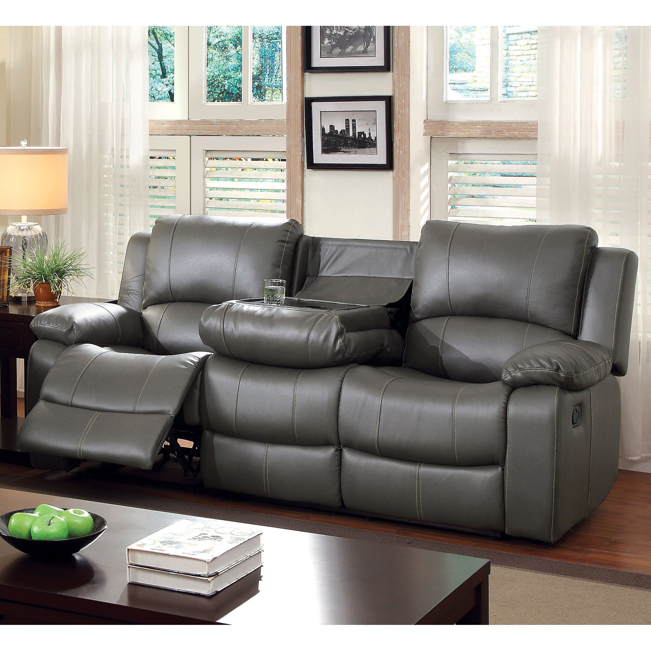 Gray Leather Reclining Sofa – Home Interior Design Ideas