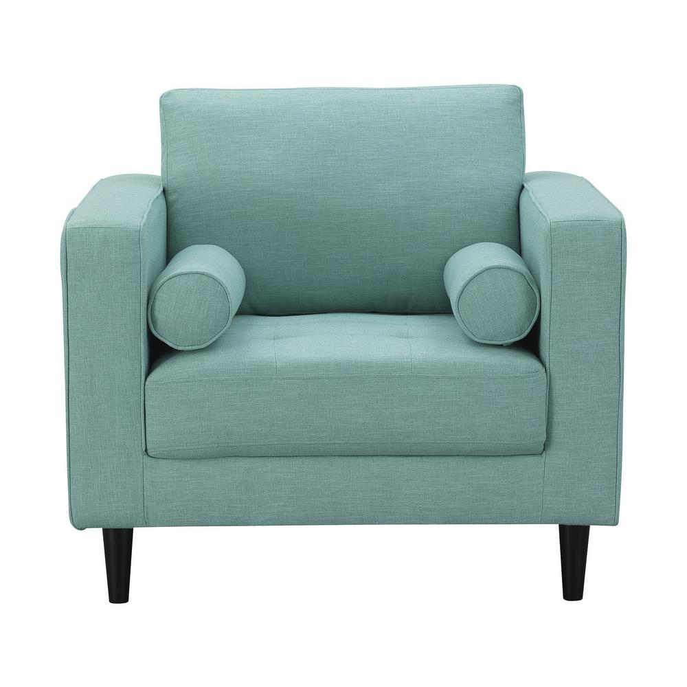 Manhattan Comfort Arthur Mint Green-Blue Tweed 1-Seat Armchair