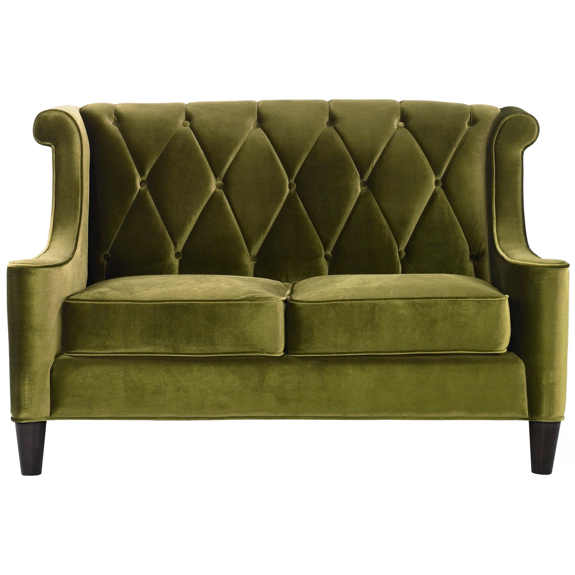 Armen Living Barrister Modern Green Velvet Loveseat