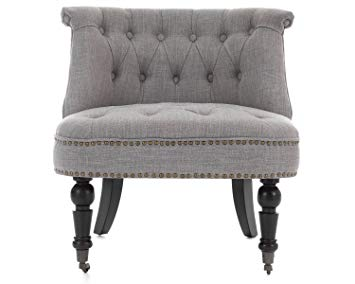 Lifestyle Furniture Occasional Olivia Accent Bedroom Chair Armchair In Grey  Linen