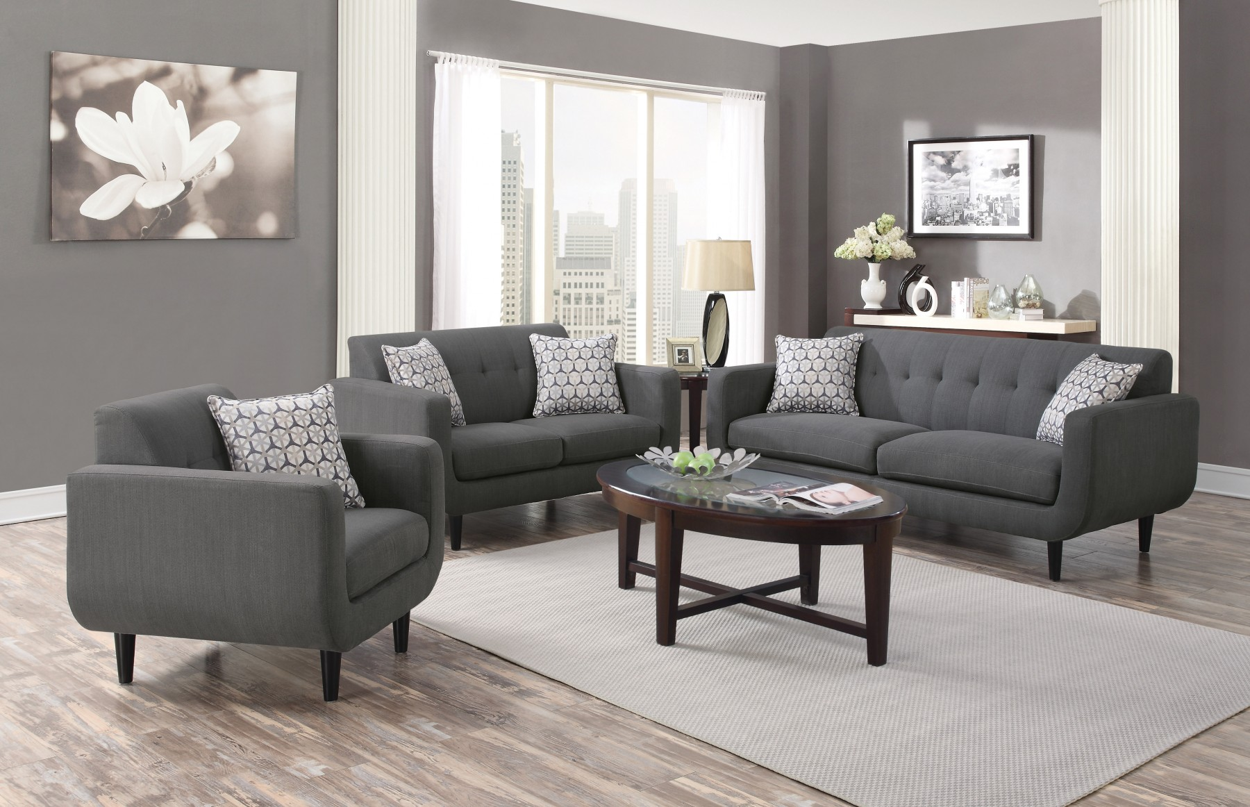 Simple Relax Stansall 3 Pcs Grey Linen Like Sofa Couch Set - Walmart.com