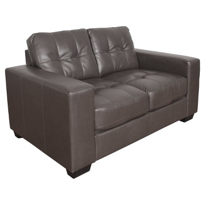 Club Tufted Brownish - Grey Bonded Leather Loveseat - Corliving