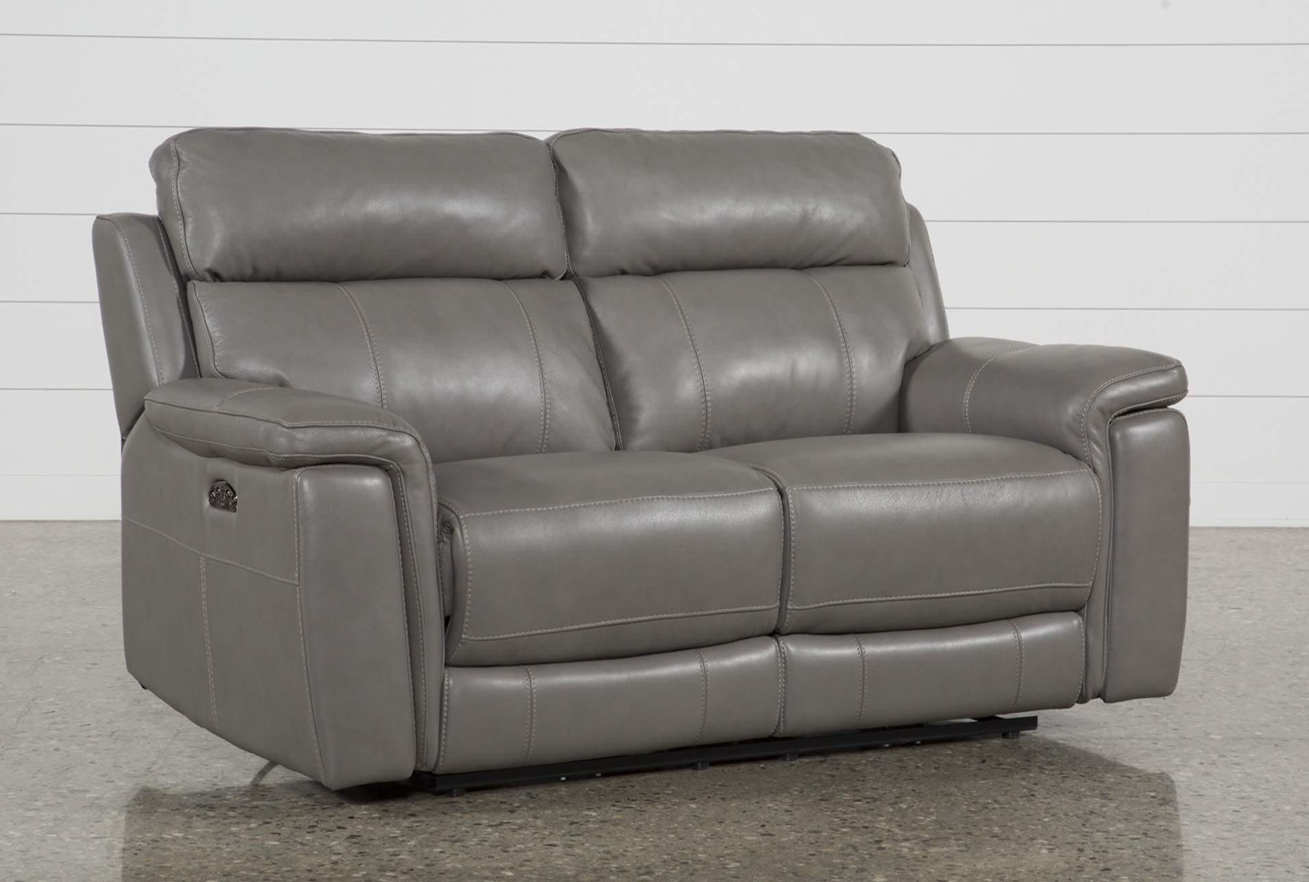 Grey Leather Loveseat