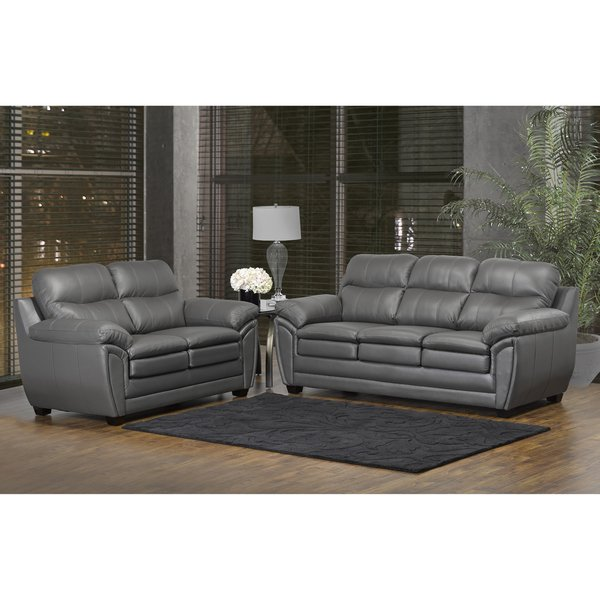 Shop Marcus Premium Grey Top Grain Leather Sofa and Loveseat Set - On Sale  - Free Shipping Today - Overstock - 13251187