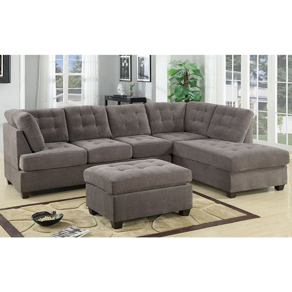 Shop 3 Piece Modern Large Tufted Grey Microfiber Sectional Sofa with