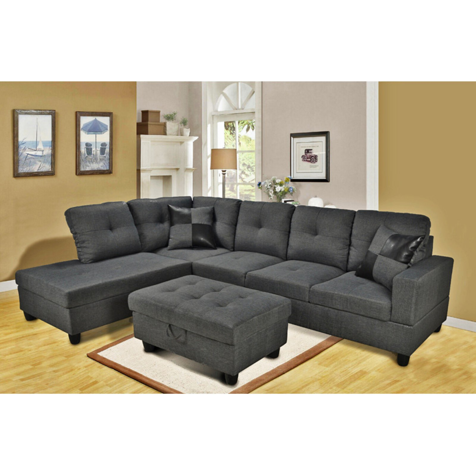 Beverly Fine Furniture 3-Piece Gray Microfiber Sectional Sofa
