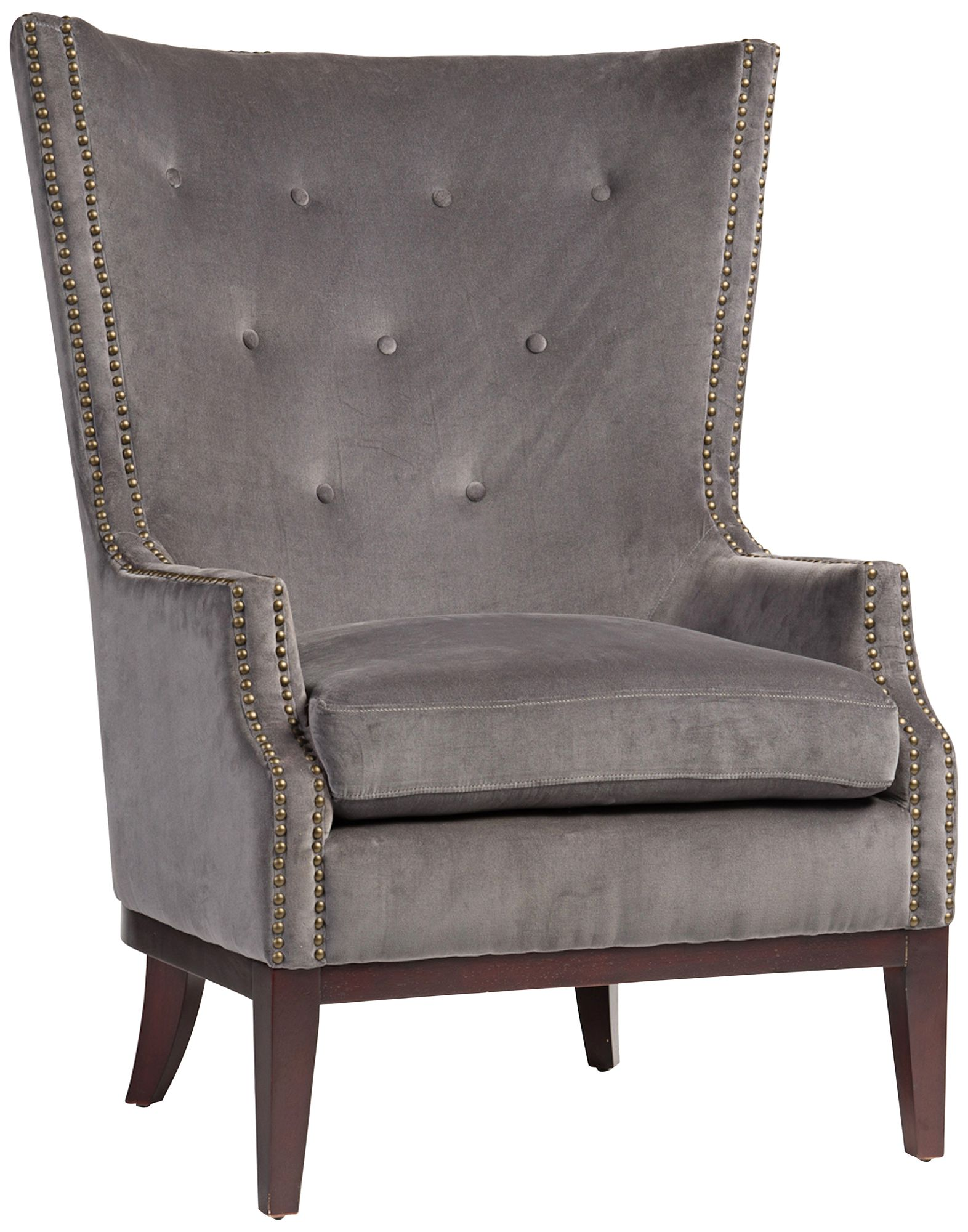 Lillian Gray Velvet Tufted Occasional Chair