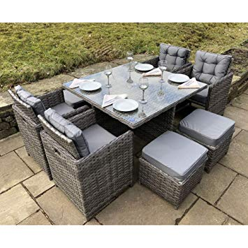 OWO Living Luxury Milan Grey Rattan Garden Furniture Set 8 Seater Patio  Outdoor Garden Dining Cube