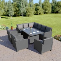 Bermuda 9 Seater Garden Rattan Dining Set Solid Dark Grey with Dark Cushions
