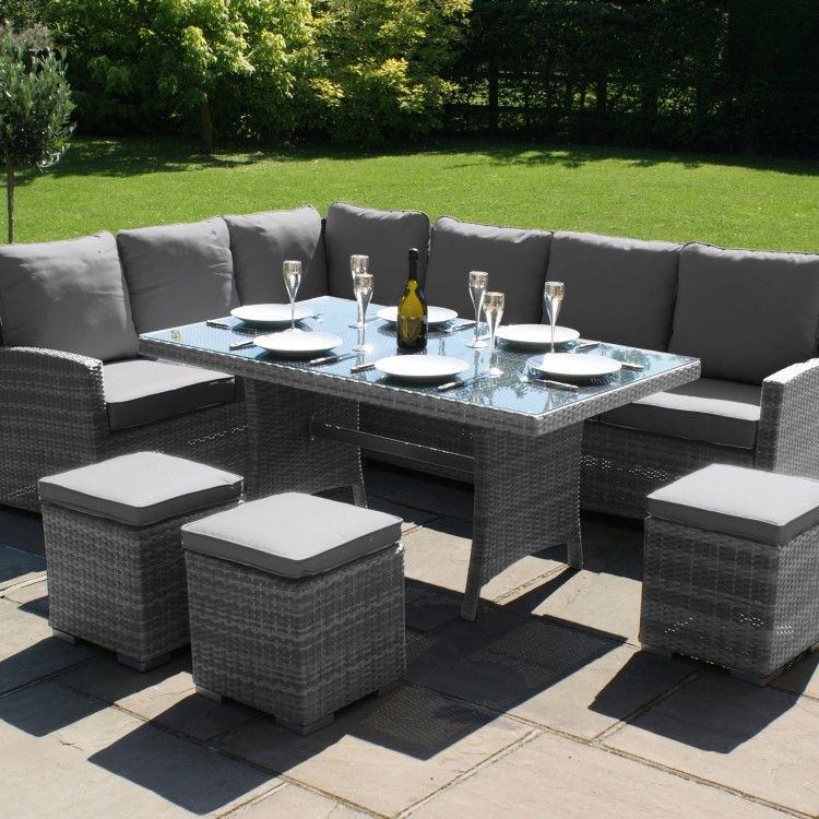 Maze Rattan Garden Furniture Kingston Grey Corner Dining Set
