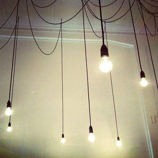 Hanging light bulbs on wires. #decor #style #home #ceiling | lights