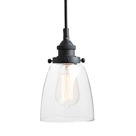 Pathson Retro Pendant Lighting, Industrial Small Hanging Light with Clear  Glass and Textile Cord,
