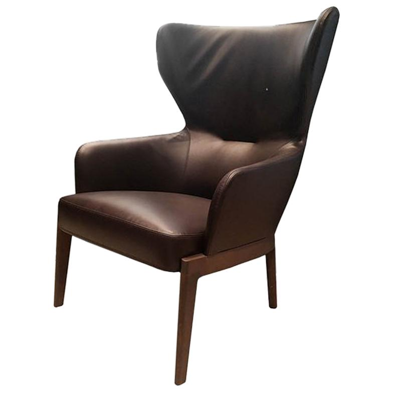 Chelsea High Back Armchair by Molteni&C Leather Brown For Sale